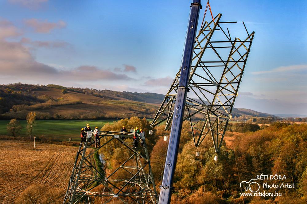 Légifotók - 400kV-os távvezetékoszlop építésének nyomvonala - ipari fotózás - Réti Dóra